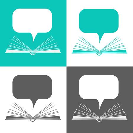 open agenda: Libro de papel abierta con discurso de nubes en el estilo de diseño plano