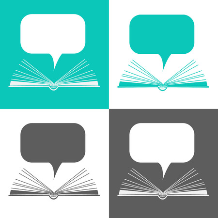 Open paper book with speech clouds in flat design style