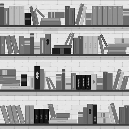 magazine stack: seamless pattern bookshelves, books on the brick wall background
