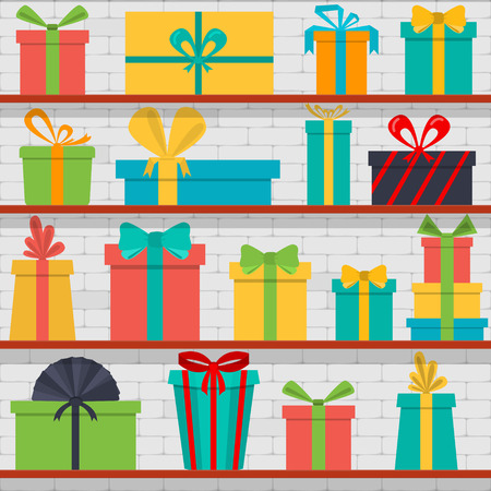seamless pattern of gift boxes on the shelves. Gift shop. Vettoriali