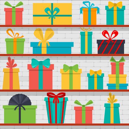 cajas navide�as: sin patr�n de cajas de regalo en los estantes. Tienda de regalos.