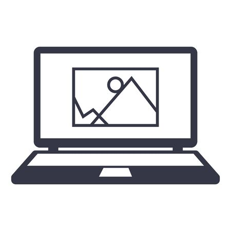 laptop screen: icon image information. drawing on the laptop screen.