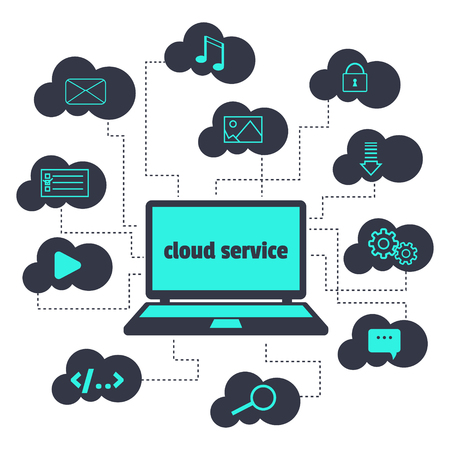cloud service: concept. Cloud service. Open the laptop and various icons in the clouds around. Illustration