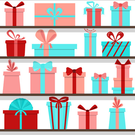 seamless pattern of gift boxes on the shelves. Gift shop. 向量圖像