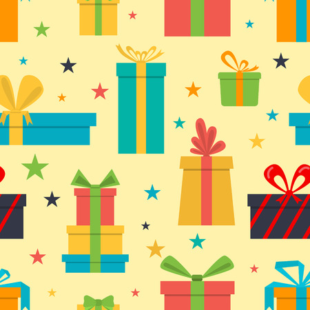 seamless pattern of gift boxes and stars