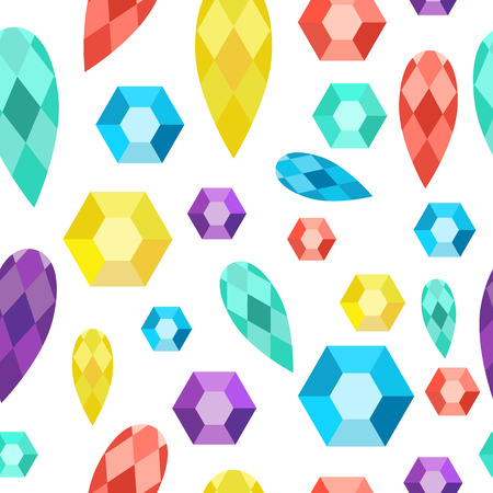 Vector seamless pattern precious stones gems diamonds crystals. Illustration