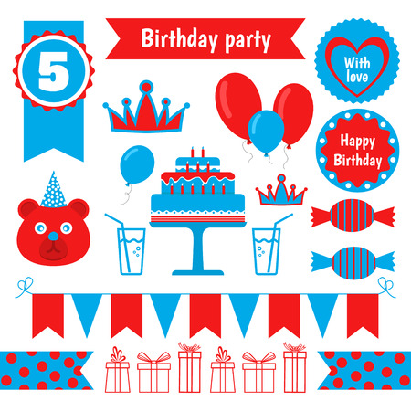 cake paper: Vector set of festive birthday party elements. Flat design.