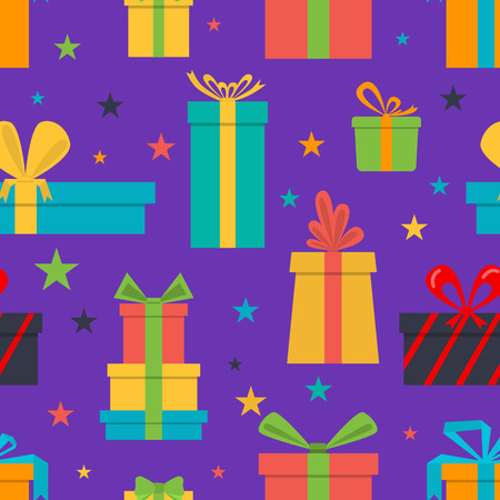 present box: Vector seamless pattern of gift boxes and stars
