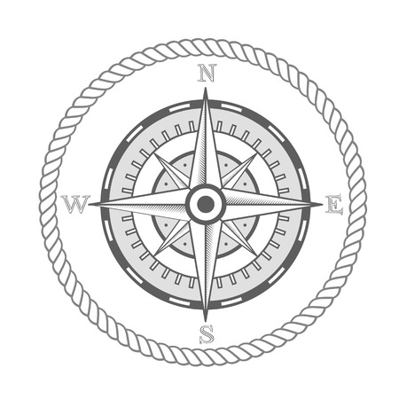 vector nautical label. vintage compass, icon and design element. Çizim