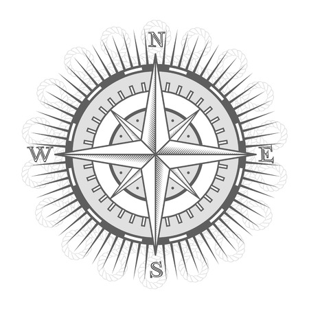 vector nautical label. vintage compass, icon and design element. 向量圖像