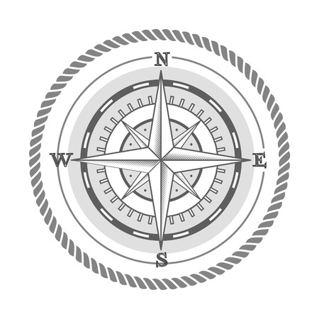 nautical label vintage compass icon and design element. Vector Illustration