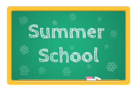 summer school: blackboard stationery Summer School vector. The inscription in chalk
