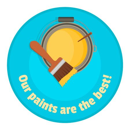 nontoxic: Brush up on the bank with colored paint - the top view. Illustration