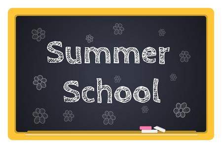 summer school: blackboard stationery Summer School vector
