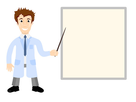 gown: Illustration - doctor in medical gown shows pointer on the poster