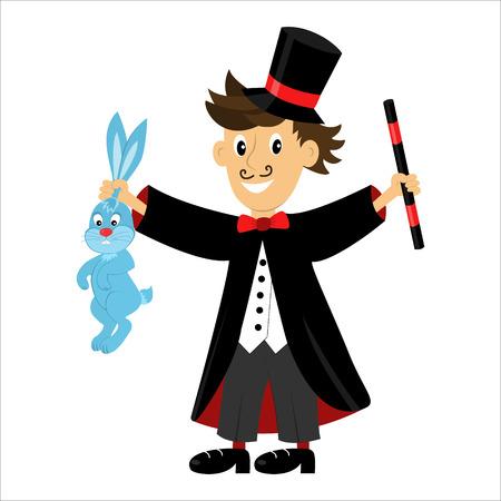 漫画文字魔術師魔法の杖とウサギを保持