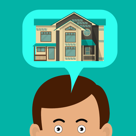 immovable property: The man is thinking about house. House in a speech cloud. Illustration