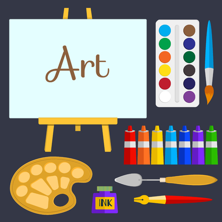 set of tools and materials for painting