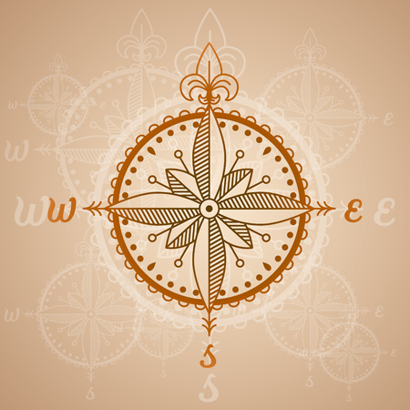drawing compass: vector nautical label. vintage compass roses, icon and design element. Vectores