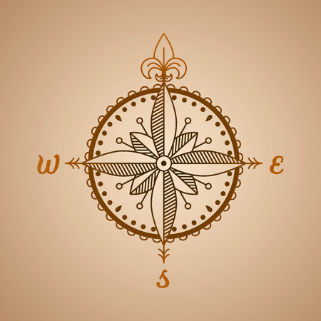 wind rose: icon and design element. vector nautical label. vintage compass roses,