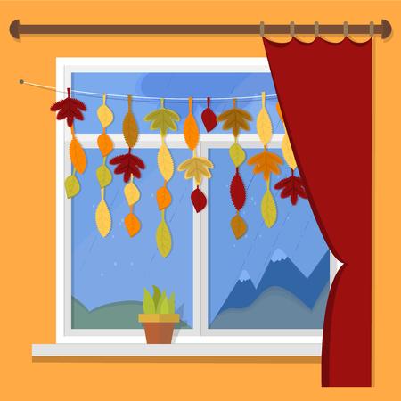 rain window: Autumn. illustration - autumn window rain views. Garland of autumn leaves on the window.