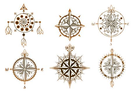 Icons and design elements. Set of vintage wind roses, compasses. Illustration