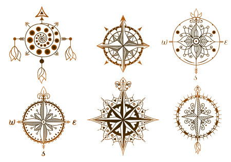 Icons and design elements. Set of vintage wind roses, compasses. Illustration