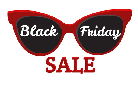 sunglasses: Sunglasses, Black Friday. Vector icon badge Black Friday sale.