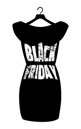 little black dress: Vector icon poster little black dress - Black Friday. Black Friday lettering on the fashionable black dress. Illustration