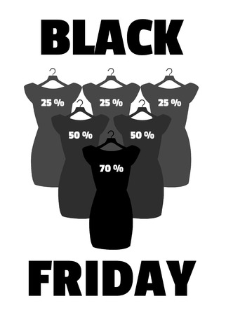 little black dress: Little black dress. Black Friday banner vector.
