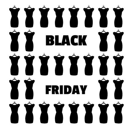 black dress: Little black dress. Black Friday banner vector.