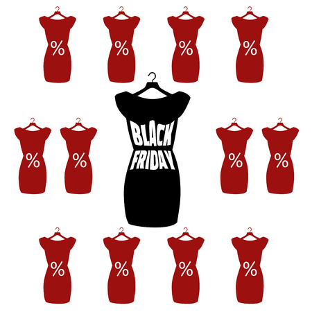 little black dress: Black Friday lettering on the fashionable black dress. Vector icon poster little black dress - Black Friday. Illustration