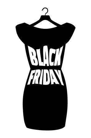 robe noire: Vector ic�ne affiche petite robe noire - Black Friday. Black Friday lettrage sur la robe noire � la mode Illustration