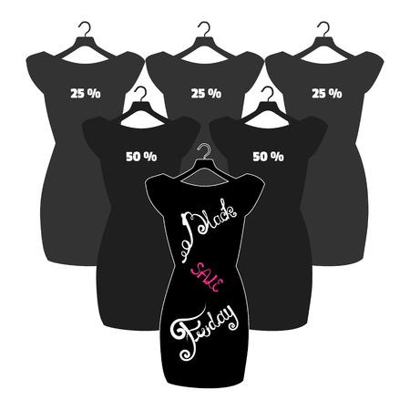 little black dress: Vector icon poster little black dress - Black Friday. Black Friday lettering on the fashionable black dress Illustration