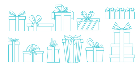 set of different gift boxes. Linear design