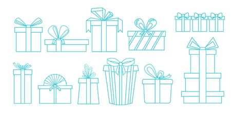 다른 선물 상자의 집합입니다. 선형 디자인