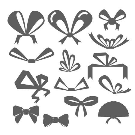 different shapes: set festive bows in different shapes. Silhouettes of bows of different shapes.