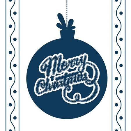 christmas ball: Vector Merry Christmas card. Vector christmas ball with Christmas lettering