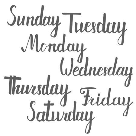 days of the week: Vector hanVector handwritten inscription days a week. Calligraphy.dwritten inscription days a week. Calligraphy.