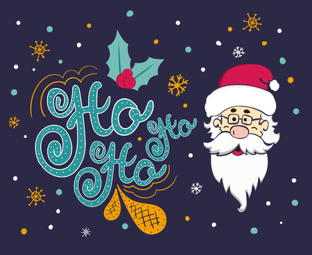 ho: Vector Christmas card with Santa Claus. Santa says Ho ho ho.
