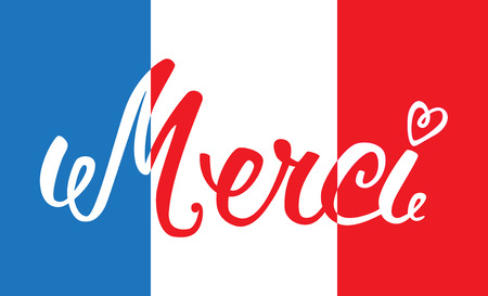 Merci hand lettering, word on the background of the French flag. The handwritten word Thank you in French.  イラスト・ベクター素材