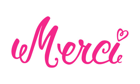 merci: Merci hand lettering. The handwritten word Thank you in French.