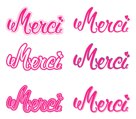 merci: Merci set hand lettering. The handwritten word Thank you in French. Illustration