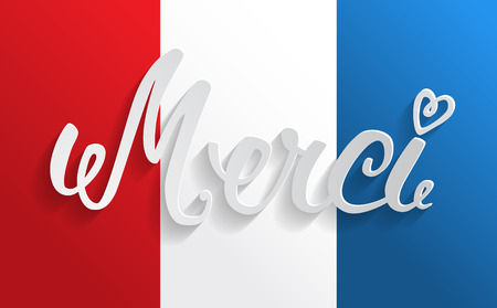 merci: Merci hand lettering, word cut from paper.  Illustration