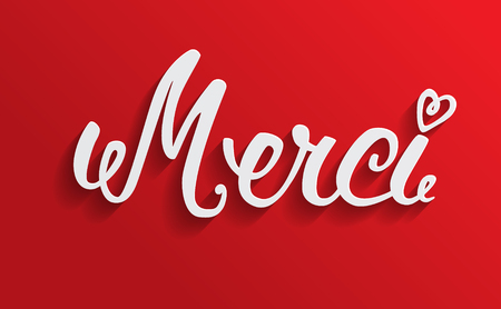 Merci hand lettering, word cut from paper.  Illustration