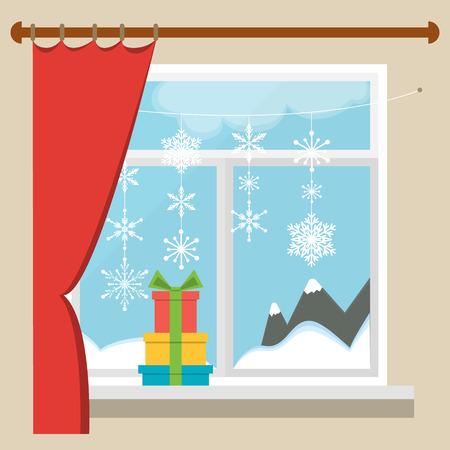 finestra: Finestra di Natale con una vista del paesaggio invernale decorato con ghirlande di fiocchi di neve. Vettoriali