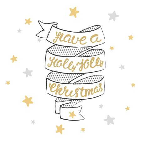 jolly: Have a holly jolly christmas Lettering. Illustration