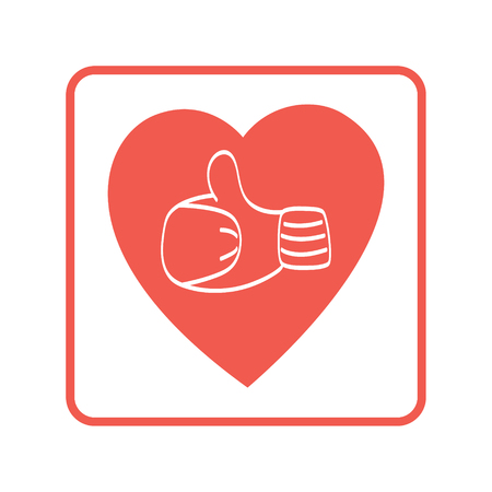 mitten: Thumb up icon, Hand in mitten in a heart.