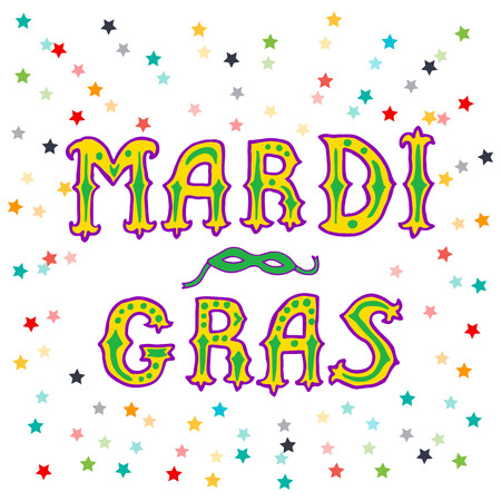 parade confetti: Mardi gras. hand lettering. greeting card Mardi gras.