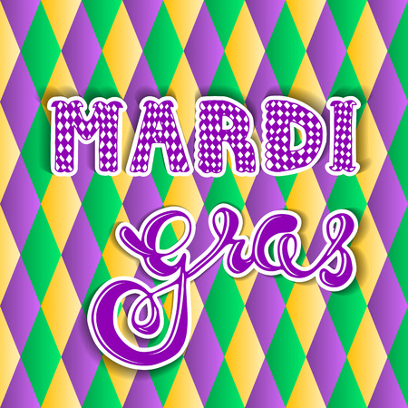 a beads: Mardi gras.hand lettering. greeting card Mardi gras.